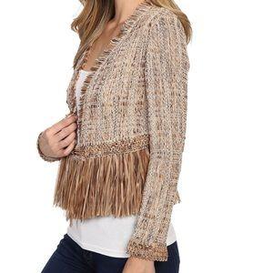 Nic + Zoe NWT Cork Fringe brown tweed jacket